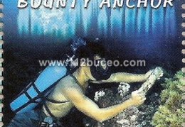 pitcairn islands diver raising bounty anchor